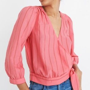 Madewell pink wrap top in Cecilia stripe